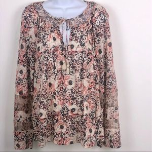 Lucky Brand Floral Print Tunic Top